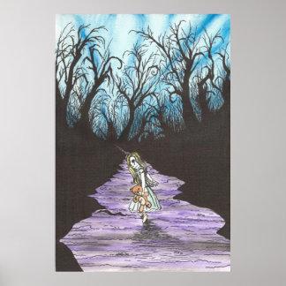 Chica perdido en maderas poster
