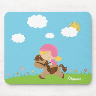 Chica personalizado del jinete del caballo del pel tapete de ratones
