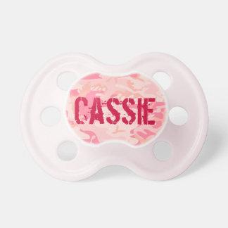 Chica personalizado lindo rosado Binky de Camo Chupetes Para Bebes