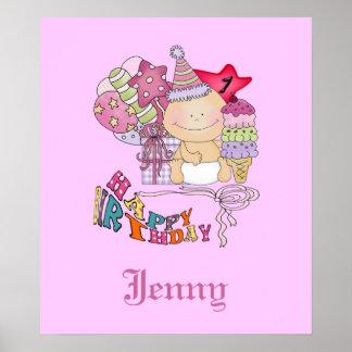 Chica poco firme del feliz cumpleaños de 1 año posters