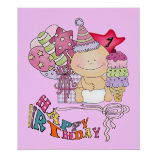 Chica poco firme del feliz cumpleaños de 1 año poster