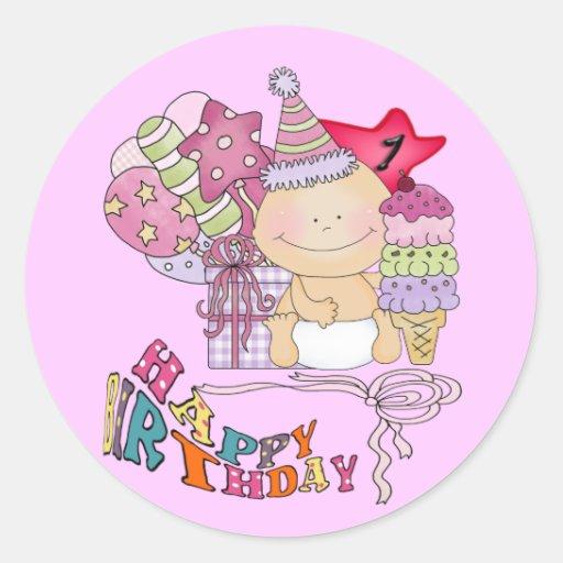 Chica poco firme del feliz cumpleaños de 1 año etiqueta redonda