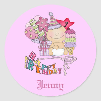 Chica poco firme del feliz cumpleaños de 1 año pegatinas redondas