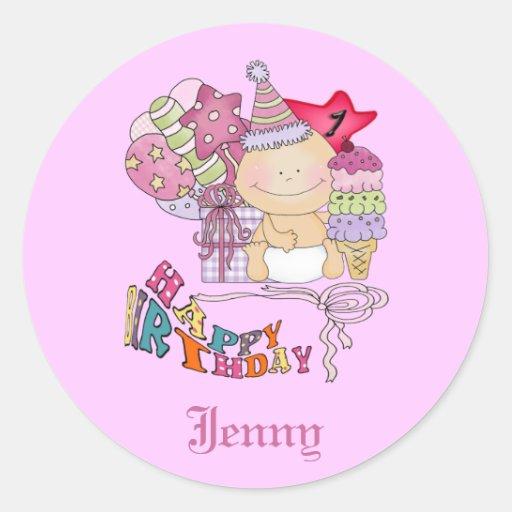 Chica poco firme del feliz cumpleaños de 1 año pegatina redonda