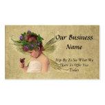 Chica precioso elegante w/butterfly del ángel plantilla de tarjeta de negocio