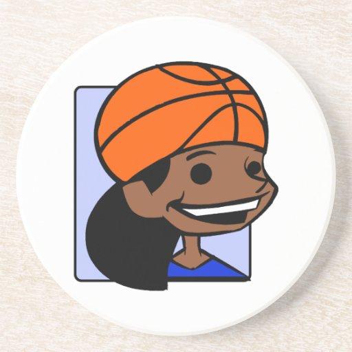 Chica principal del baloncesto posavasos personalizados
