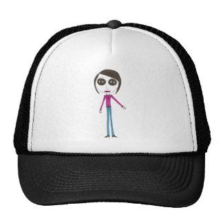 Chica principal grande del botón gorras