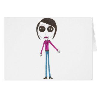 Chica principal grande del botón tarjeta de felicitación
