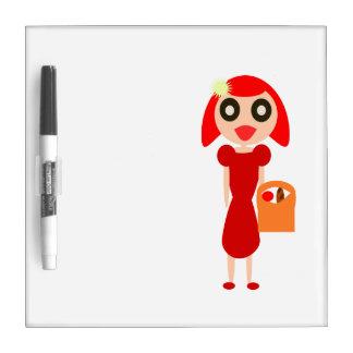 Chica principal rojo con la cesta pizarra blanca