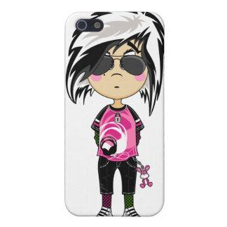 Chica punky de Emo en caso del iphone 4 de las som iPhone 5 Protector
