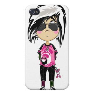 Chica punky de Emo en caso del iphone 4 de las som iPhone 4 Protector