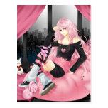 Chica punky rosado del animado postales