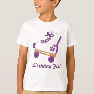 Chica púrpura de encargo del cumpleaños del patín playera