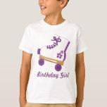 Chica púrpura de encargo del cumpleaños del patín remeras