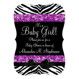 Chica púrpura de la fiesta de bienvenida al bebé anuncios personalizados