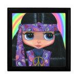 Chica púrpura del Hippie de Paisley con los ojos g Caja De Joyas