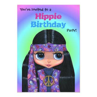 """Chica púrpura del Hippie de Paisley de la fiesta Invitación 5"""" X 7"""""""