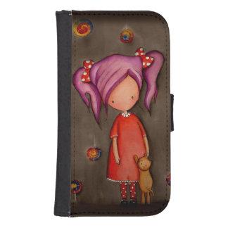 Chica púrpura del pelo con la caja de la cartera billetera para galaxy s4