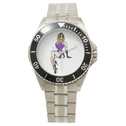 chica púrpura del perno-para arriba reloj de mano