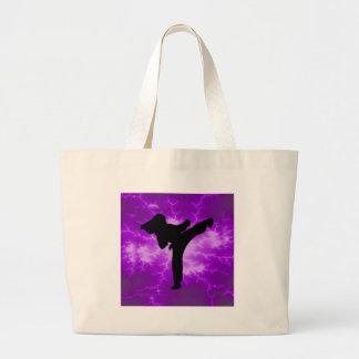 Chica púrpura del relámpago de los artes marciales bolsa de tela grande