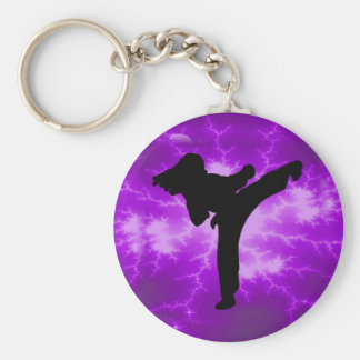 Chica púrpura del relámpago de los artes marciales llavero redondo tipo pin