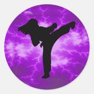 Chica púrpura del relámpago de los artes marciales pegatina redonda