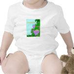 Chica púrpura personalizado de Dino Trajes De Bebé