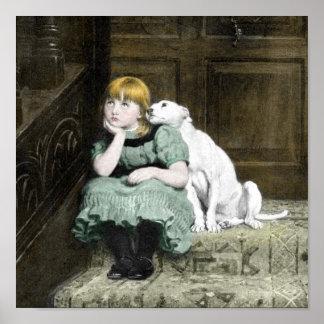 Chica que adora del perro posters