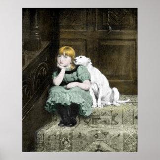Chica que adora del perro póster
