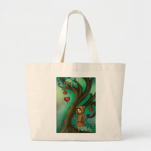 Chica que ama Lemurs Bolsa Tela Grande