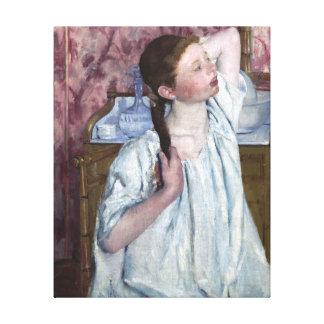 Chica que arregla su pintura del vintage del pelo lona estirada galerías