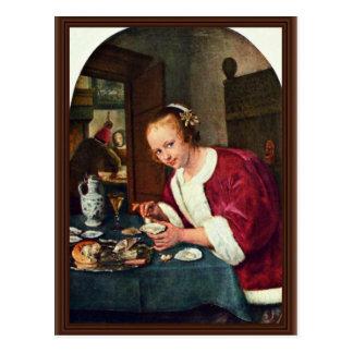 Chica que come ostras., Oestereetstertje en enero  Postales
