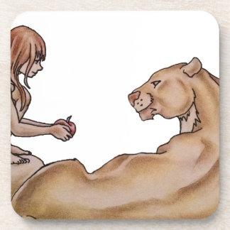 Chica que da a león un dibujo de Apple Posavaso