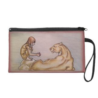 Chica que da el dibujo del león y de Apple