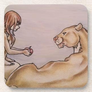 Chica que da el león Apple Posavasos De Bebida