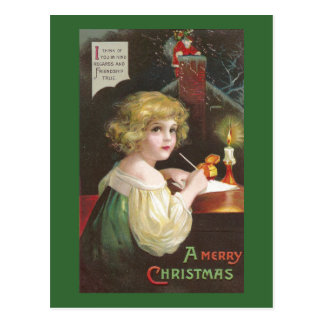 Chica que escribe una letra al navidad del vintage tarjeta postal