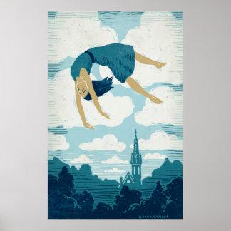 Chica que flota en aire póster