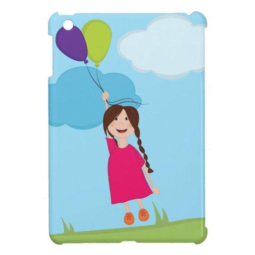 Chica que flota lejos con los globos iPad mini cobertura