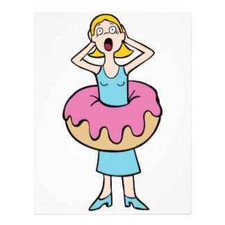 Chica que gana el peso de comer los buñuelos membretes personalizados