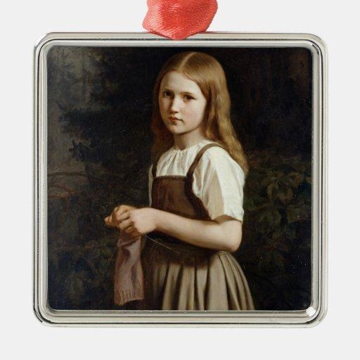 Chica que hace punto, 1854 adorno para reyes