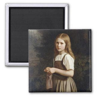 Chica que hace punto, 1854 imán cuadrado