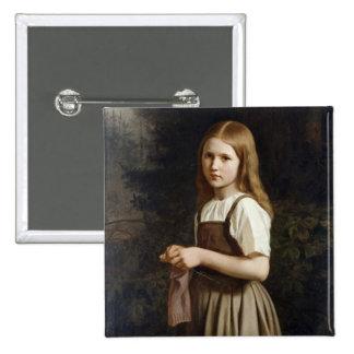 Chica que hace punto, 1854 pin cuadrada 5 cm