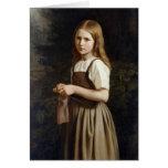 Chica que hace punto, 1854 tarjeta