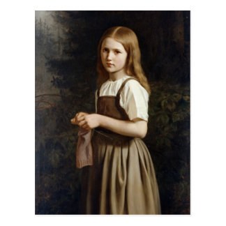 Chica que hace punto, 1854 tarjeta postal