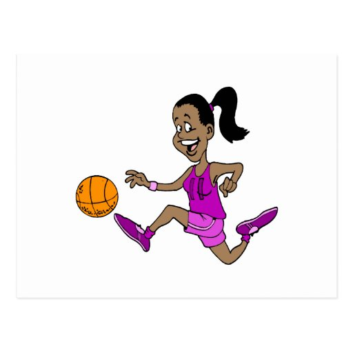 Chica que juega a baloncesto postales