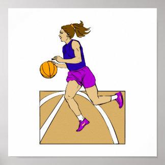 Chica que juega a baloncesto póster
