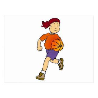 Chica que juega a baloncesto tarjetas postales