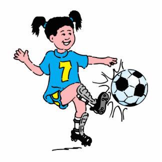 Chica que juega a fútbol fotoescultura vertical