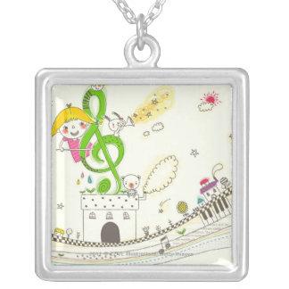 Chica que juega con las notas musicales sobre casa colgante cuadrado