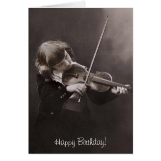 chica que juega el cumpleaños del violín tarjeta de felicitación